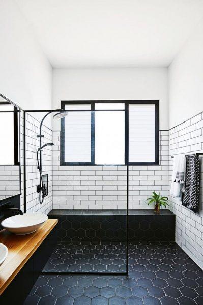 White Subway Tile and Black Hexagon Tile Modern Small Bathroom  2020