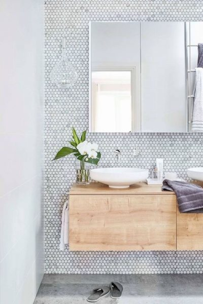 Small Rustic Penny Tile white and grey bathroom remodel 2020