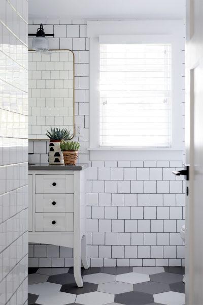 Cute Square White Subway Tile Bathroom