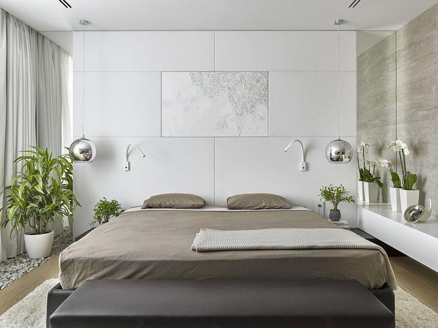 Grey white green bedroom